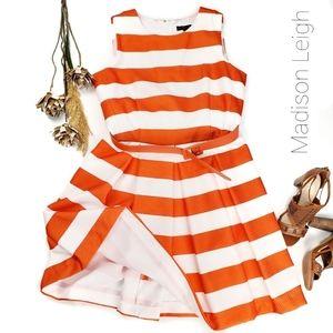 Madison Leigh  Orange White Stripe Flare Dress 14